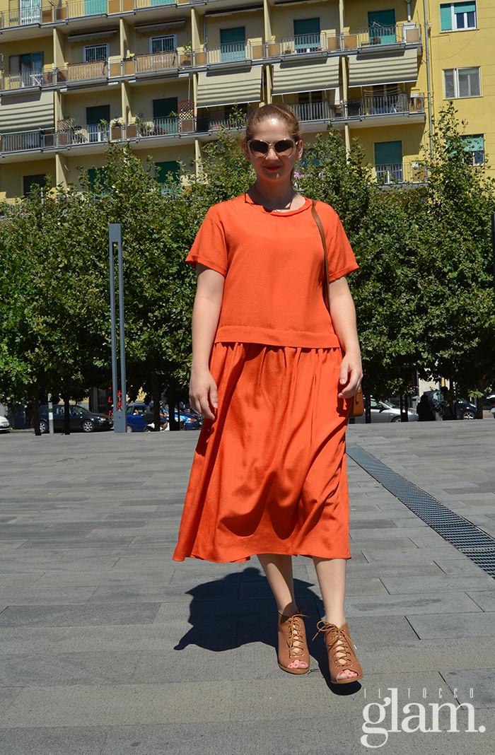 abito lungo arancio
