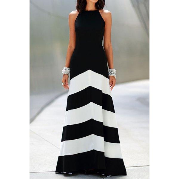 abito lungo bianco e nero