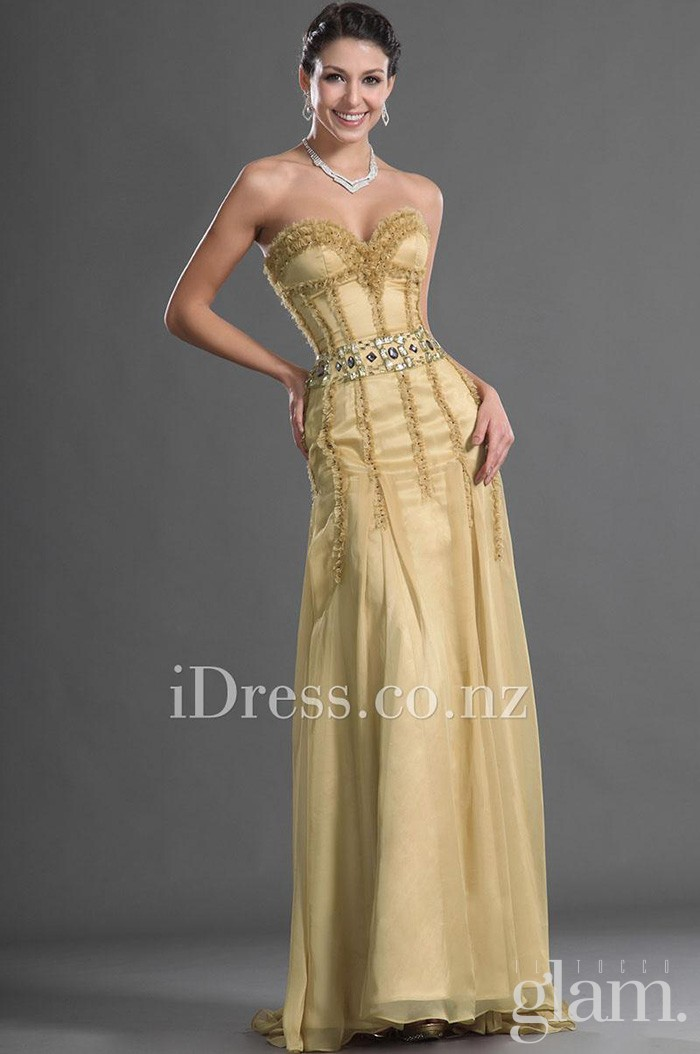 strapless-sweetheart-drop-waist-gold-chiffon-evening-dress-1