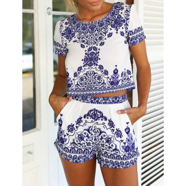 Short Sleeve Blouse + Printed Shorts Women's Twinset