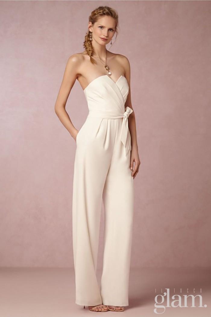 vestito da sposa con pantalone